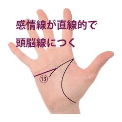 手相占い|感情線が直線的で頭脳線にくっつく
