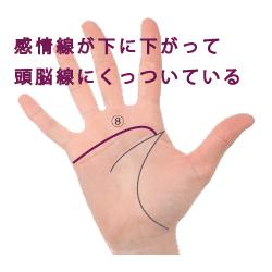 手相|感情線が下がって頭脳線に突く|画像