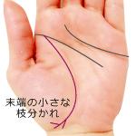 生命線の末端の小さな枝分かれがある手相