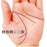 生命線の末端が親指側に二股の手相