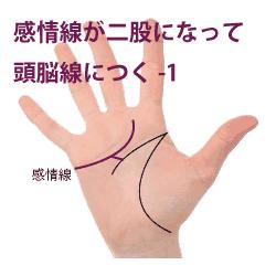 感情線が二股になって頭脳線に付く手相1