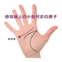 感情線の小指の付近のほくろ