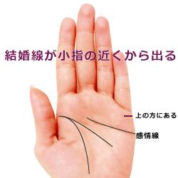 結婚線が小指の付け根近くから出る手相