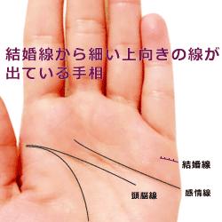 結婚線から上向きに細い線が出ている手相の見方