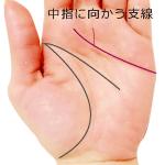 感情線から中指に向かって伸びる支線が出る手相