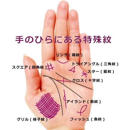手のひらに出る特殊紋
