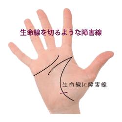 手相の生命線を切るように横切る障害線・妨害線