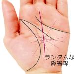 手のひらにランダムに放射線状に入る運命線の障害線