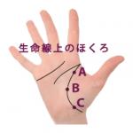 1.手相の生命線上にあるほくろ占い