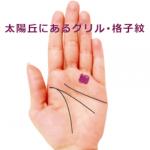 薬指のつけ根(太陽丘)に網目のようなグリル(格子紋)がある手相
