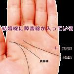結婚線の途中に縦線(障害線)が入っている手相