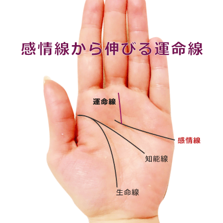 運命線が感情線から伸びる手相の意味