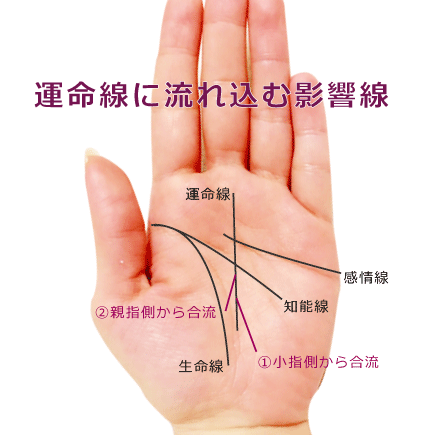 運命線に合流する別の線(影響線)がある手相の見方(運命線の起点の分岐)