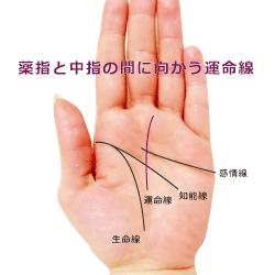 運命線が中指と薬指の股に向かう手相