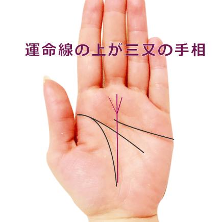 運命線のゴール(上)が三つ又に分岐している手相の見方(運命線のトライデント)
