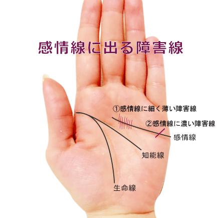 感情線を遮るような横線・斜め線(妨害線・障害線)がある手相の見方