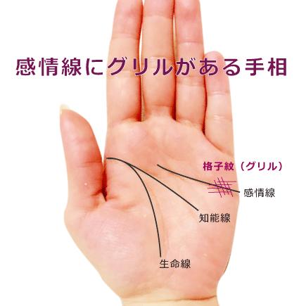 感情線の上にグリル(格子紋)が重なる手相の見方