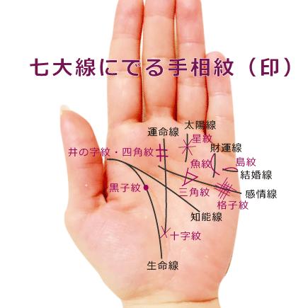 掌線上の手相紋(印)