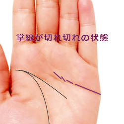 掌線が細かく切れ切れの手相