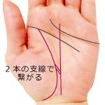 生命線と運命線が2本に支線で繋がる手相