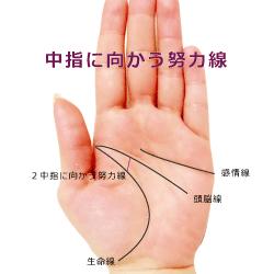 中指に向かう努力線(運命線)