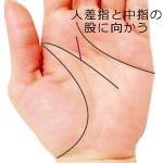 頭脳線の支線が人差し指と中指の股に向かう手相