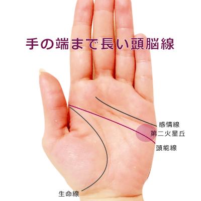頭脳線が端まで伸びて長い手相