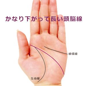 小指の下や側面まで下がって長い頭脳線
