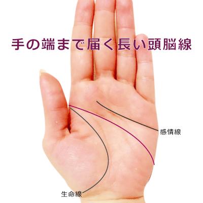 手の端や側面まで届くほど長い頭脳線