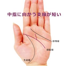 頭脳線の支線が中指に向かっているが短い手相