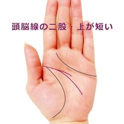 頭脳線の二股で上が短い手相